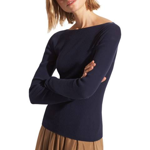 Vince Navy Ribbed Cotton Jumper