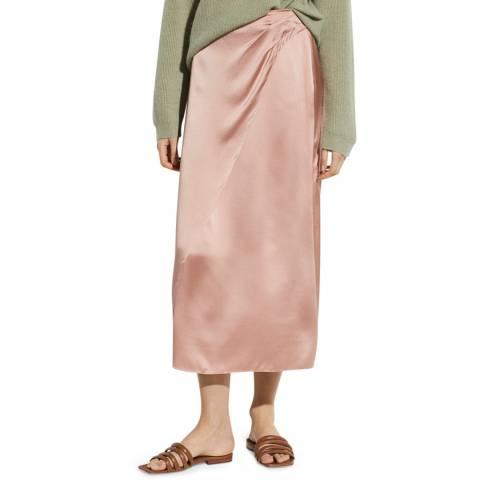 Vince Pink Wrap Silk Midi Skirt