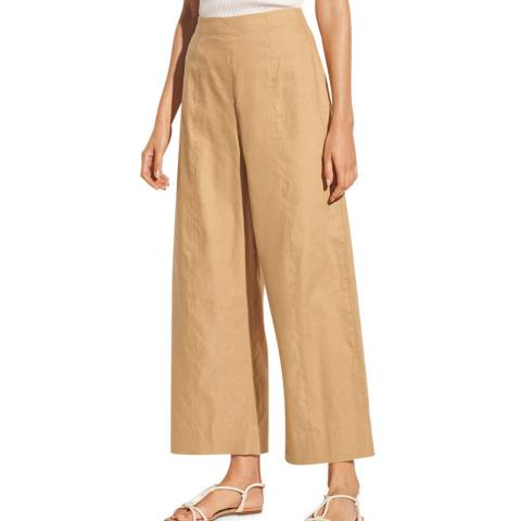 Vince Beige Crop Wide Linen Trousers