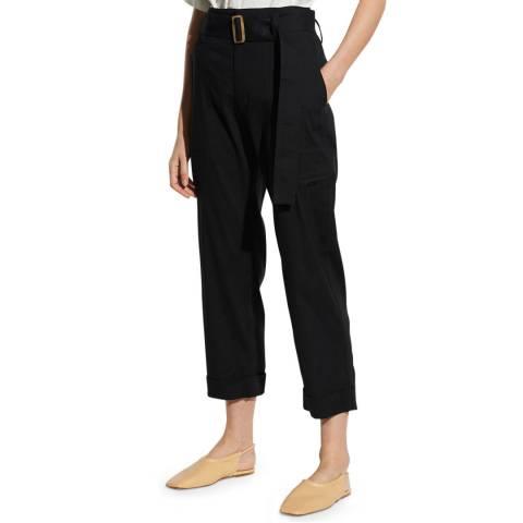 Vince Black Belted Linen Blend Trousers