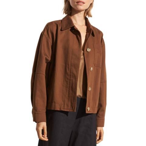 Vince Brown Linen Blend Utility Jacket