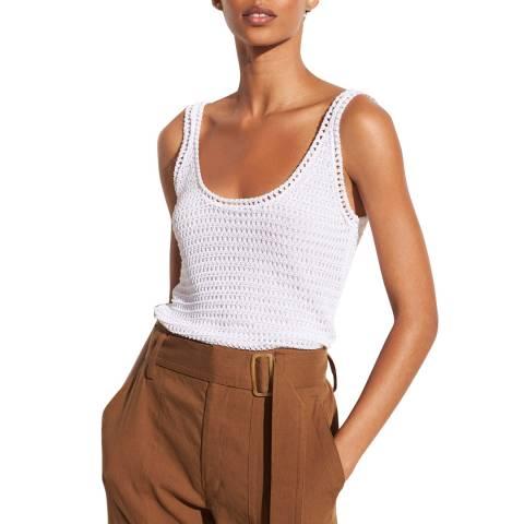 Vince White Crochet Cotton Blend Tank Top
