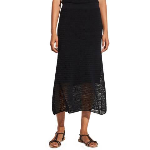 Vince Navy Crochet Cotton Blend Midi Skirt
