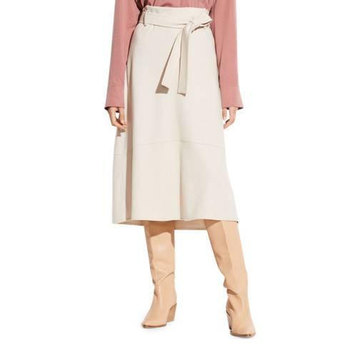 Vince White Belted Wool Blend Midi Skirt