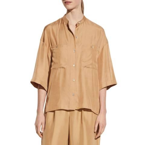 Vince Camel Silk Blend Utility Shirt