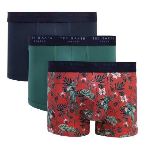 Ted Baker Red/Green/Navy 3 Pack Patterned Trunk