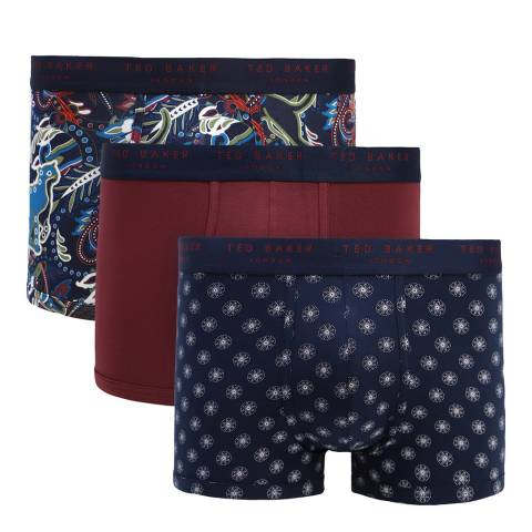 Ted Baker Navy/Red 3 Pack Patterned Trunk