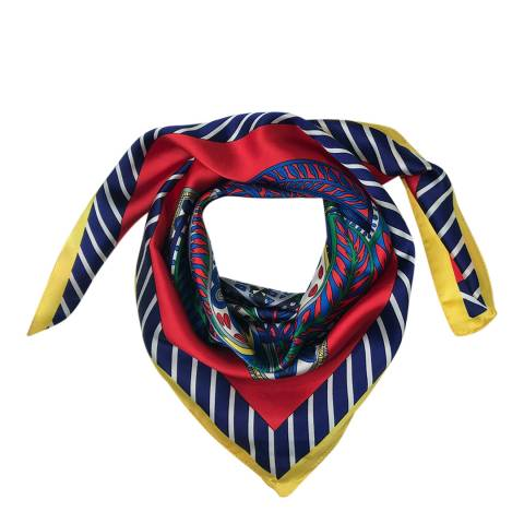 JayLey Collection Red/Multi Silk Blend Scarf