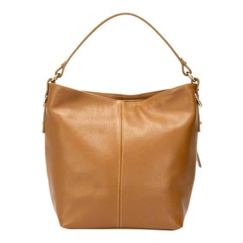 Giulia Massari Cognac Leather Top Handle Bag