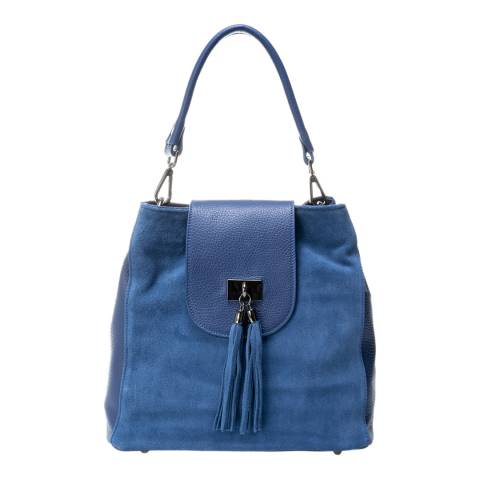 Lisa Minardi Blue Leather Top Handle Bag