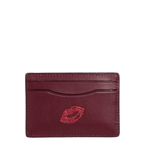 Coach Burgundy Lip Design Card Case