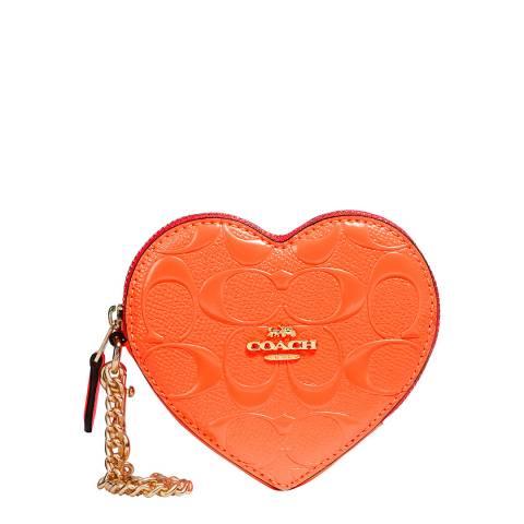 Coach Neon Orange Heart Coin Case