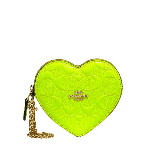 Coach Neon Yellow Heart Coin Case