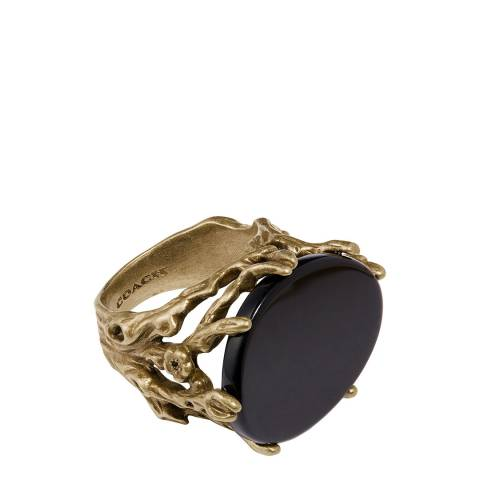 Coach Gold Black Forest Ring