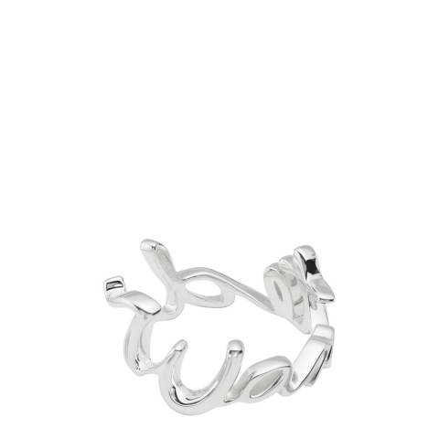 Coach Sterling Silver Wanted Script Ring