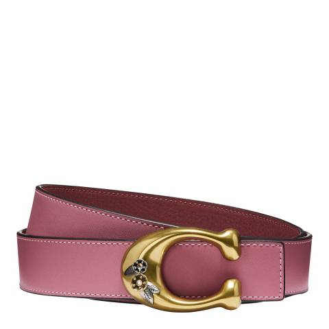 Coach Rose Signature Buckle Reversible Belt
