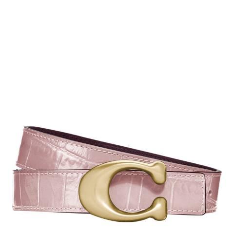 Coach Blossom Pink Signature Buckle Reversible Belt