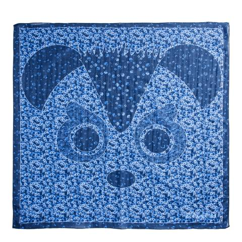 Coach Blue Multi Silk Blend Panda Bandana