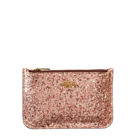 Coach Metallic Rose Gold Glitter Card Case