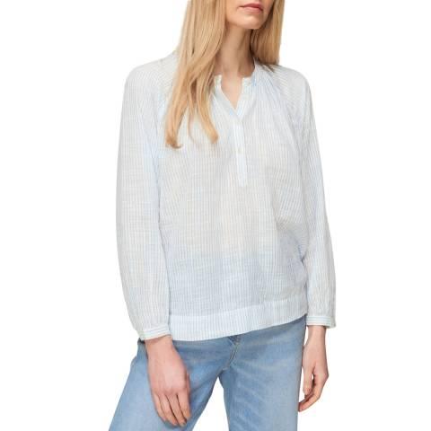 WHISTLES Blue Stripe Cotton Voile Blouse