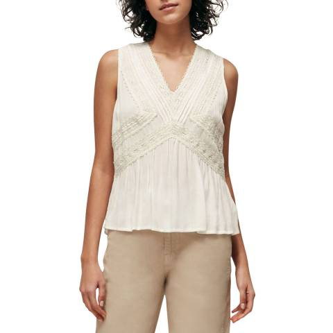WHISTLES Ivory Leora Lace Detail Top