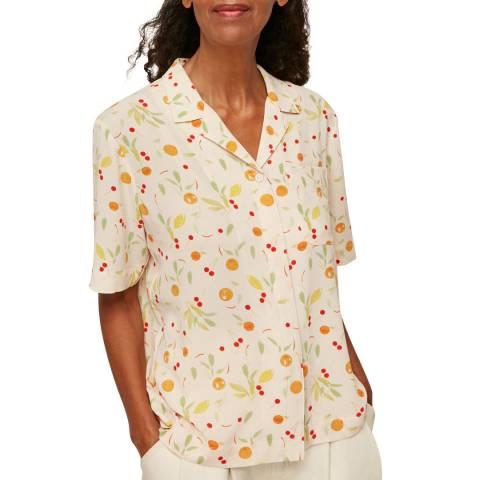 WHISTLES Cream Fruit Print Shirt