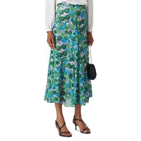 WHISTLES Green Zinnia Floral Midi Skirt