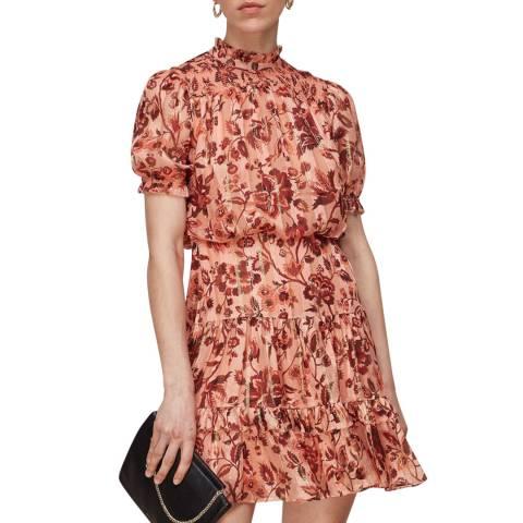 WHISTLES Pink Sophia Prairie Silk Mini Dress