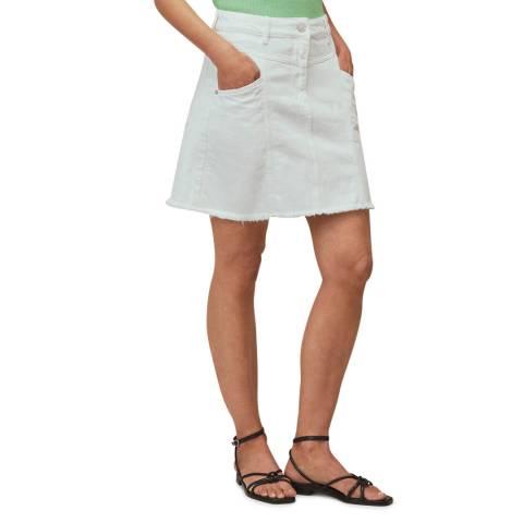WHISTLES White Seam Detail Frayed Denim Mini Skirt