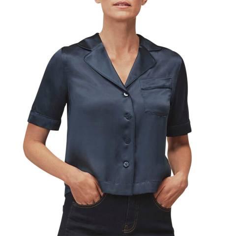 WHISTLES Navy Silk Satin Bowling Shirt