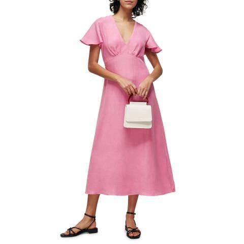 WHISTLES Pink Frill Sleeve Midi Dress