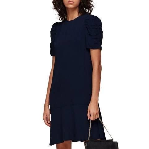 WHISTLES Navy Georgina Zip Mini Dress