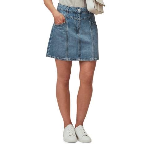 WHISTLES Blue Seam Detail Frayed Denim Mini Skirt
