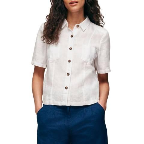 WHISTLES White Marielle Linen Shirt