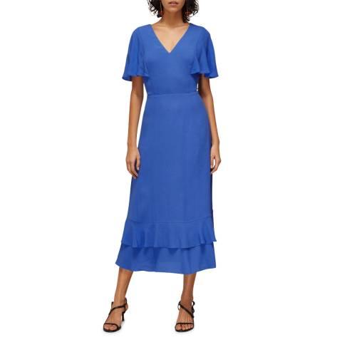 WHISTLES Blue Cathy Frill Hem Midi Dress