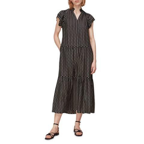 WHISTLES Black Print Elephant Silk Mix Midi Dress