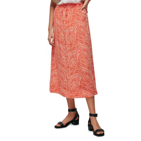 WHISTLES Red Tiger Palm Smocked Waist Midi Skirt