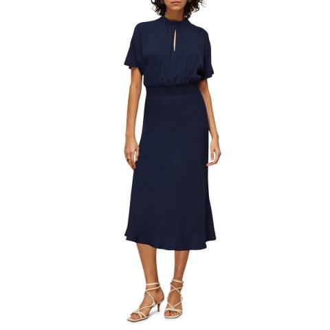 WHISTLES Navy Shirred Waist Midi Dress