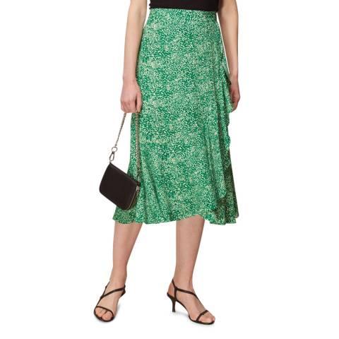 WHISTLES Green Blot Animal Frill Midi Skirt