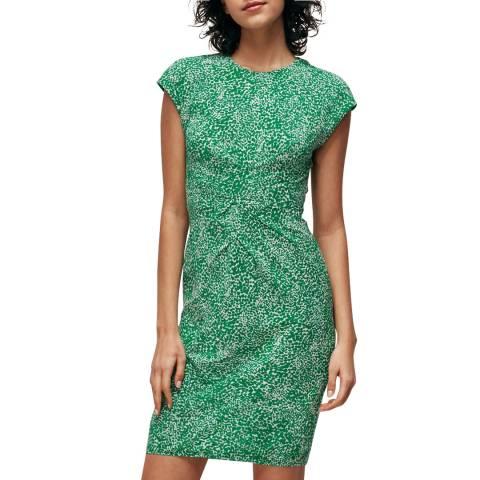 WHISTLES Green Blot Animal Silk Bodycon Dress