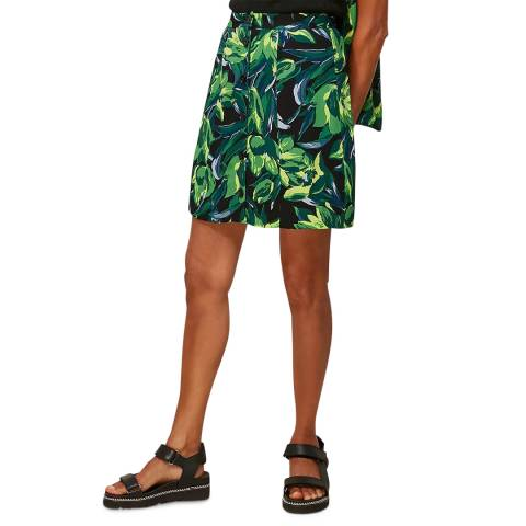 WHISTLES Green Tulip Print Button Skirt