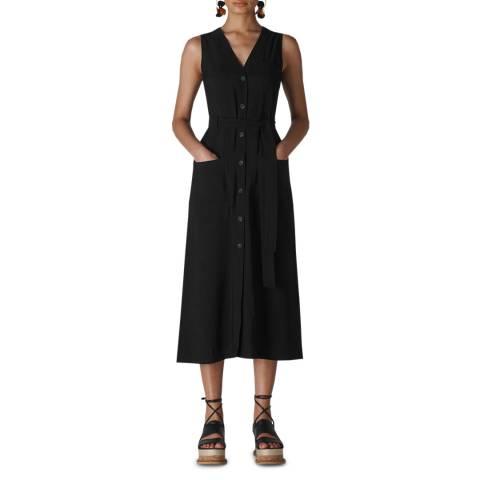 WHISTLES Black Cody Button Through Midi Dress