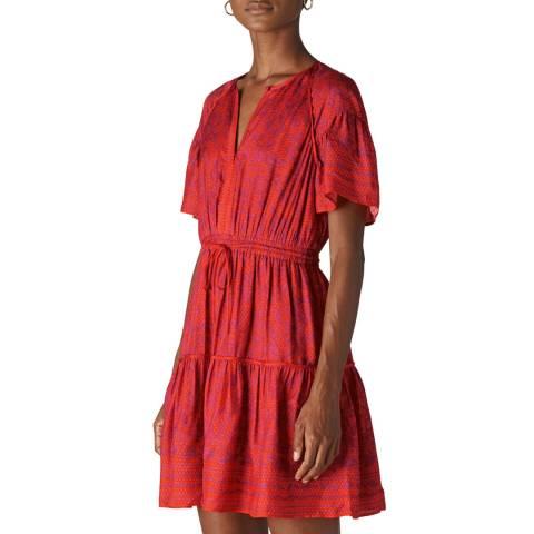 WHISTLES Pink Henna Print Flippy Dress
