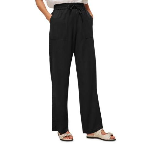 WHISTLES Black Washed Wide Leg Trousers