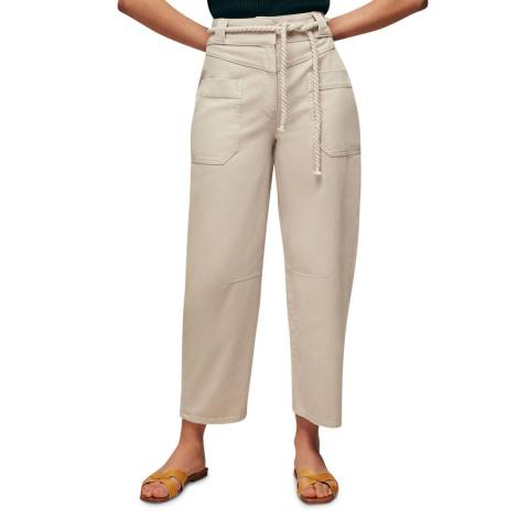 WHISTLES Beige Rope Belted Casual Wide Leg Trousers