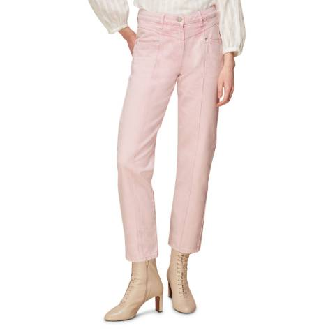 WHISTLES Pink Emma Panelled Cotton Jeans
