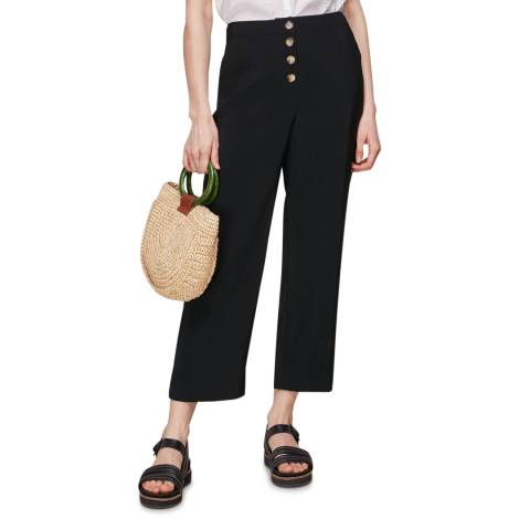WHISTLES Black Button Front Trousers
