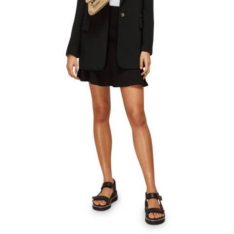 WHISTLES Black Ottoman Jersey Flippy Mini Skirt