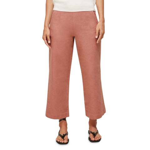 WHISTLES Pink Amenia Cropped Linen Blend Culottes