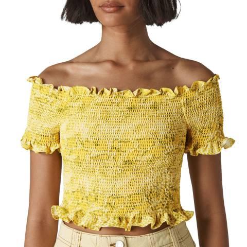 WHISTLES Yellow Python Smocked Bardot Top